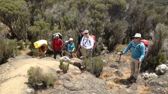 R to L: Paul, Neil, Derek, Mel and porters on Day 3 of the #Climb4Cord.