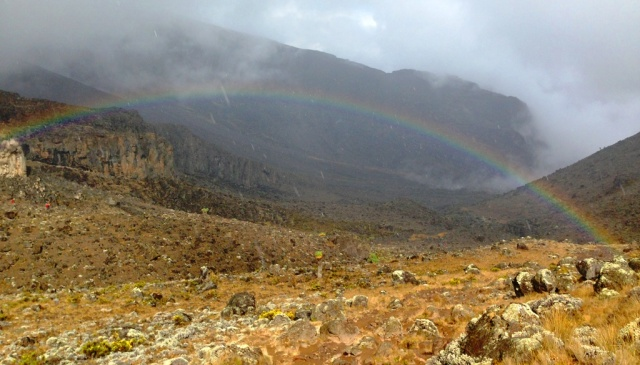 Rainbow as we descend into the Barranco Valley on Day 4.